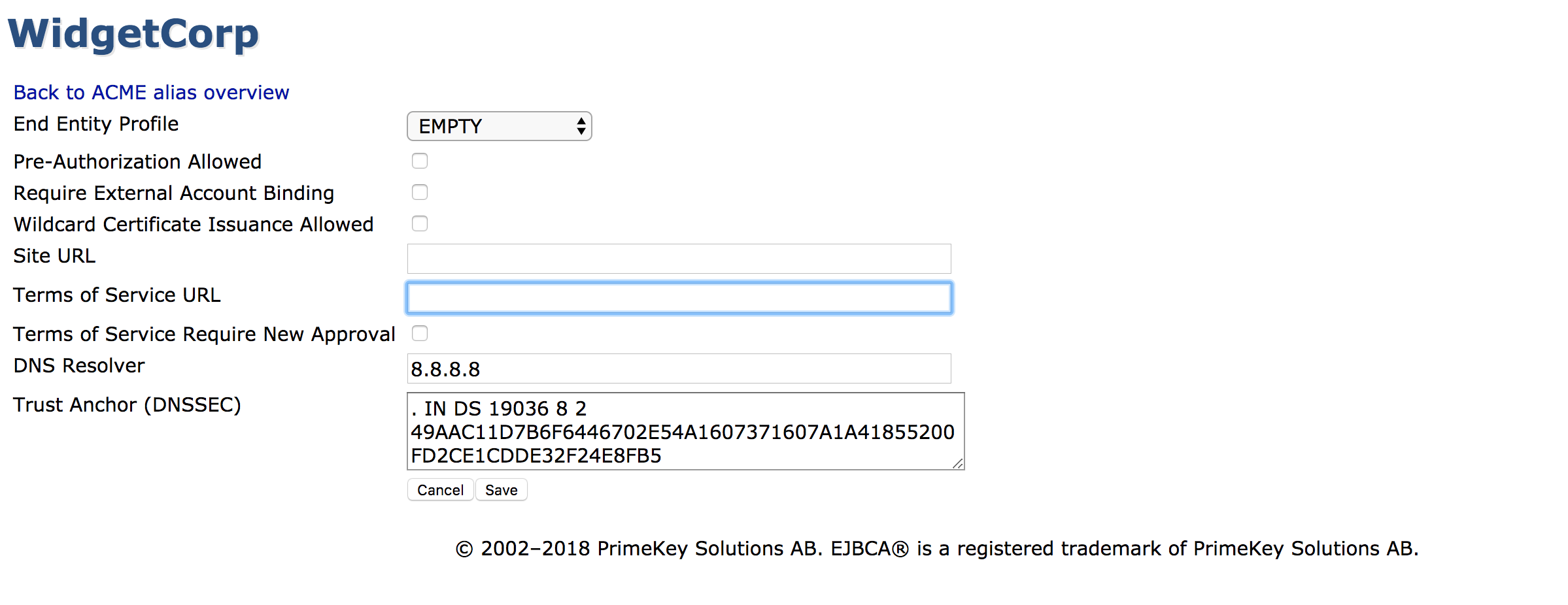 ACME - EJBCA - Documentation Space